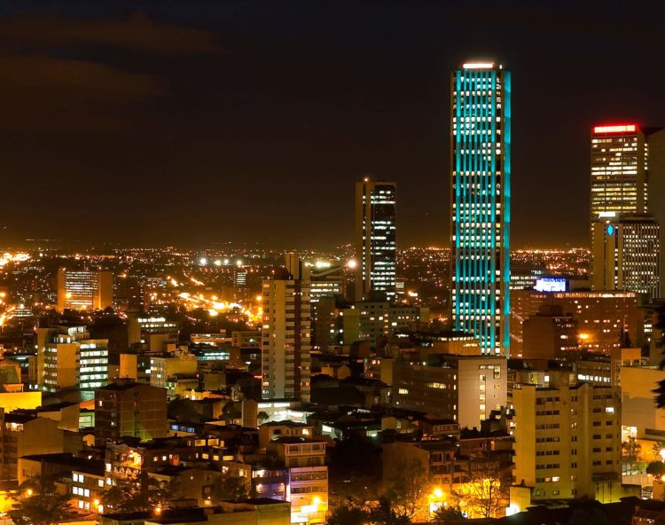 Beautiful Bogota at night
