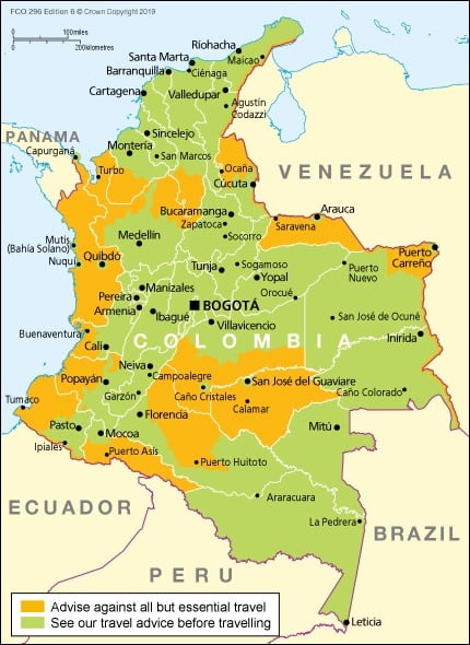 Safe areas to visit Colombia