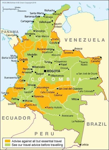 Zonas seguras para visitar Colombia